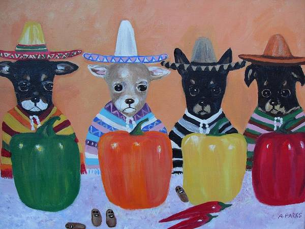 Chihuahuas Poster featuring the painting Teacup Chihuahuas In Mexico by Aleta Parks