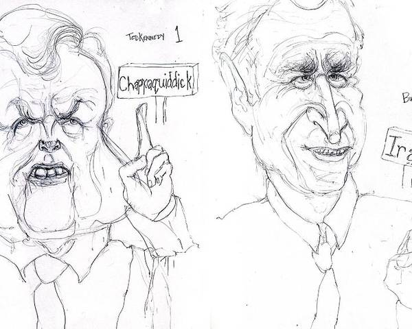 Drawing Political Satire Cartoon Poster featuring the drawing Ted Kennedy One President Bush Four Thousand One Hundred Forty Five And Counting by Cartoon Hempman