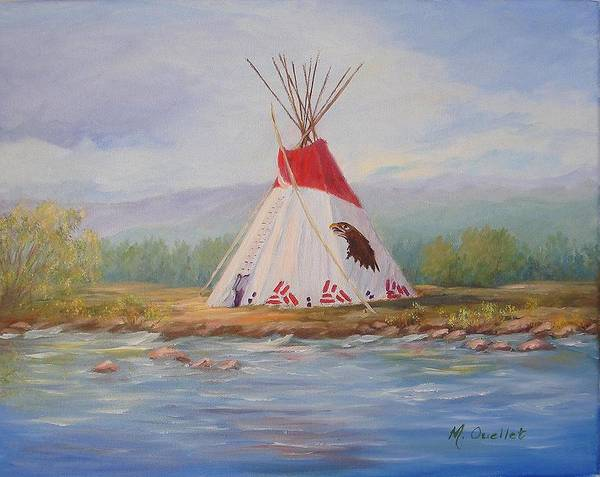 Landscape Poster featuring the painting Tee Pee by Maxine Ouellet