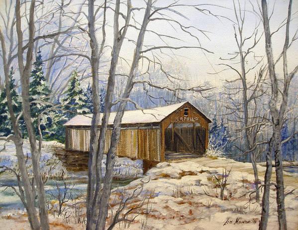 Oil Painting;bridge;covered Bridge;winter Scene;snow;landscape;winter Landscape; Poster featuring the painting Teegarden Covered Bridge In Winter by Lois Mountz