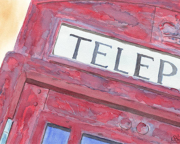 Telephone Poster featuring the painting Telephone Booth by Ken Powers