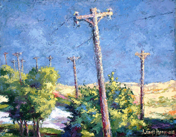 Landscape Painting Poster featuring the painting Telephone Poles Before The Rain by Lewis Bowman