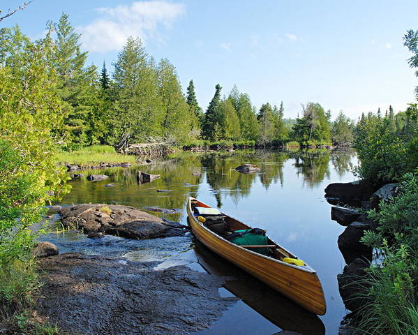 Boundary Waters Canoe Area Wilderness Poster featuring the photograph Temperance River Portage by Larry Ricker