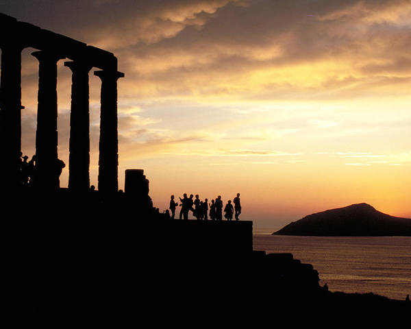 Tourists Poster featuring the photograph Temple Of Poseiden In Greece by Carl Purcell