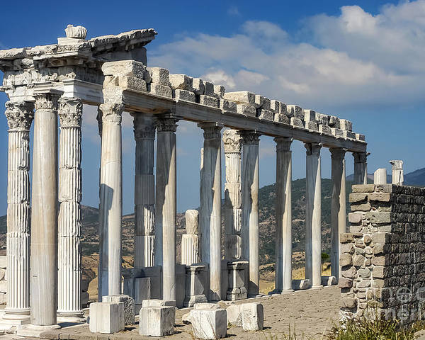 Bergama Pergamon Turkey Ancient Ruins Ruin Acropolis Landscape Landscapes Architecture Structures Structures Trajan Temple Temples Column Columns Place Of Worship Places Of Worship Landmark Landmarks Poster featuring the photograph Temple Of Trajan View 3 by Bob Phillips