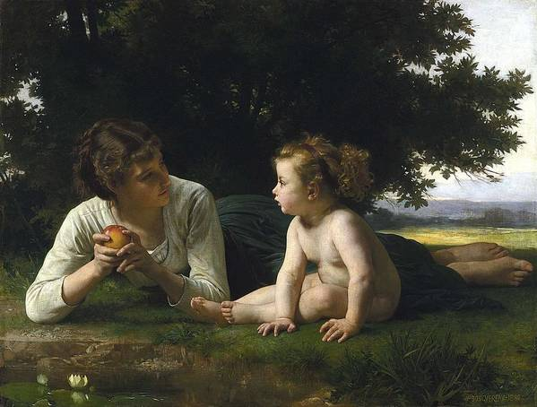 Beautiful Poster featuring the painting Temptation By William-adolphe Bouguereau by William-Adolphe Bouguereau