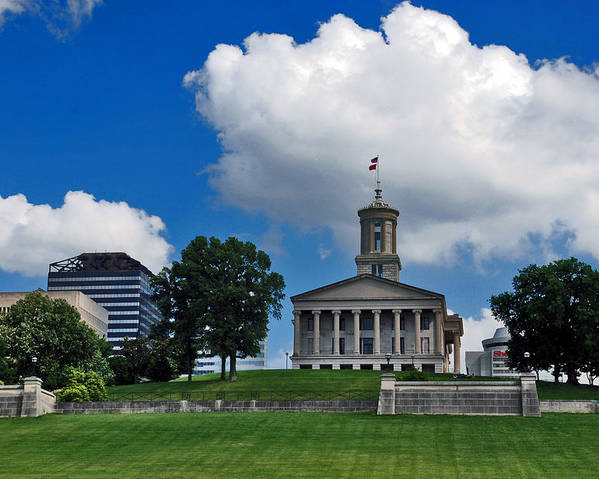 Tennessee State Capitol Poster featuring the photograph Tennessee State Capitol Nashville by Susanne Van Hulst