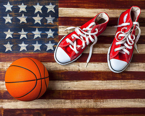 Tennis Poster featuring the photograph Tennis Shoes And Basketball On Flag by Garry Gay