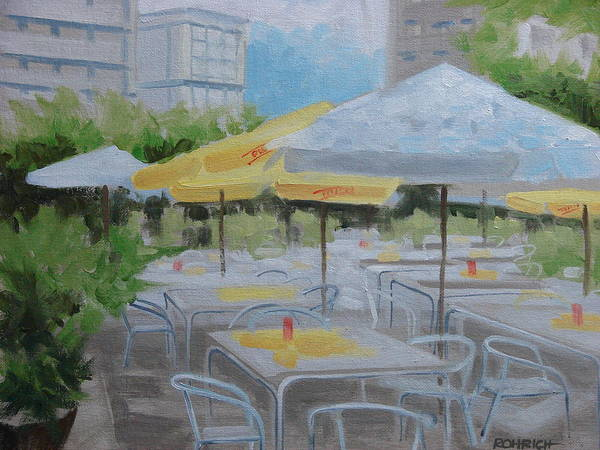 Outdoor Cafe Poster featuring the painting Terrace Cafe by Robert Rohrich