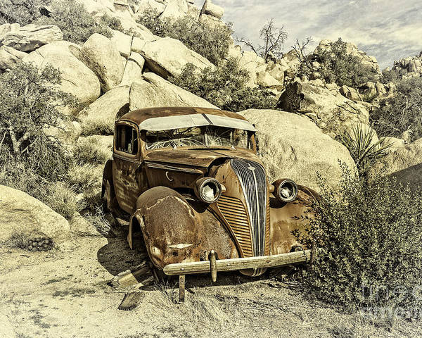 Joshua Tree National Park Poster featuring the digital art Terraplane Hudson Vintage by Sandra Selle Rodriguez