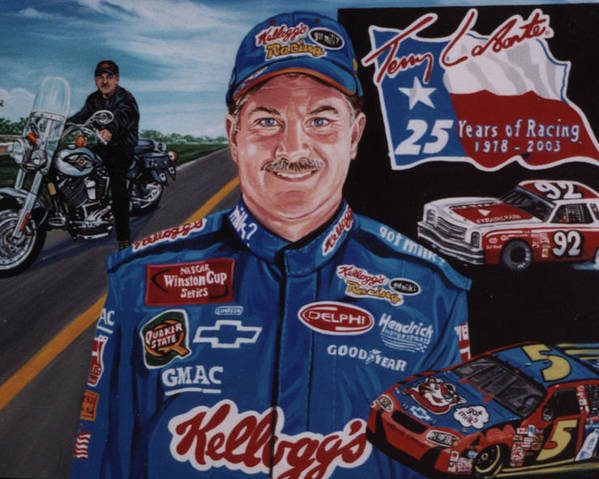 Portrait Poster featuring the painting Terry Labonte by Diann Baggett