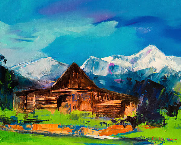 Barn Poster featuring the painting Teton Barn by Elise Palmigiani