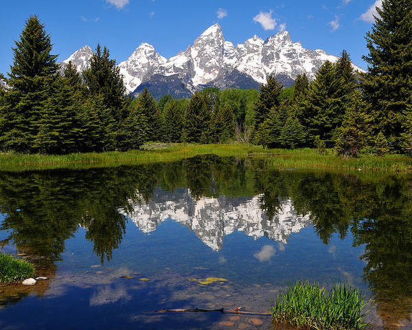 Grand Teton National Park Poster featuring the photograph Teton Reflection by Alan Lenk