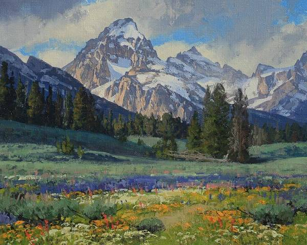 Landscape Poster featuring the painting Teton Splendor by Lanny Grant