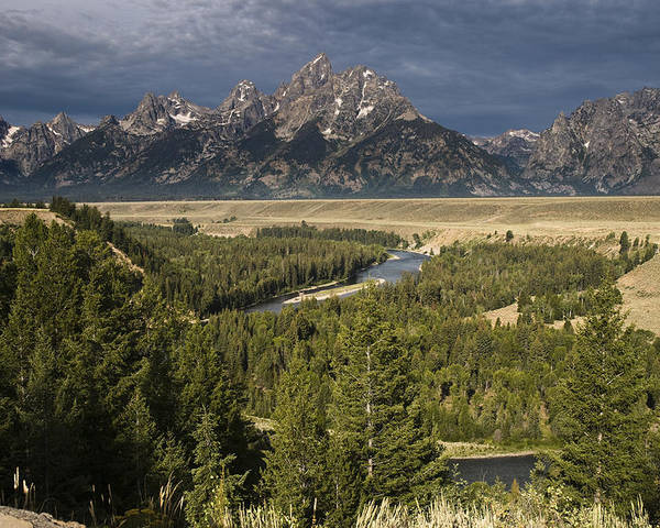 Grand Tetons Poster featuring the photograph Teton Valley Snake River by Chad Davis