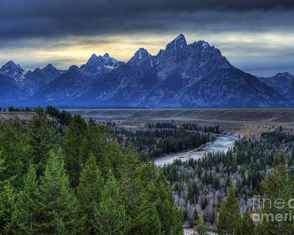 Places Poster featuring the photograph Tetons And Snake River by Dennis Hammer
