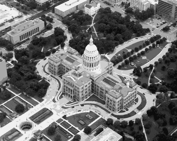 Capitol Of Texas Poster featuring the photograph Texas Capitol Bw10 by Scott Kelley