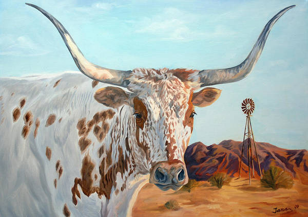 Texas Longhorn Poster featuring the painting Texas Longhorn by Jana Goode