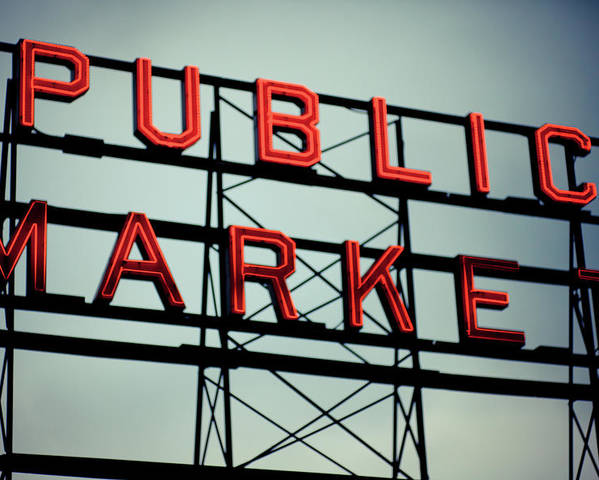 Horizontal Poster featuring the photograph Text Public Market In Red Light by © Reny Preussker