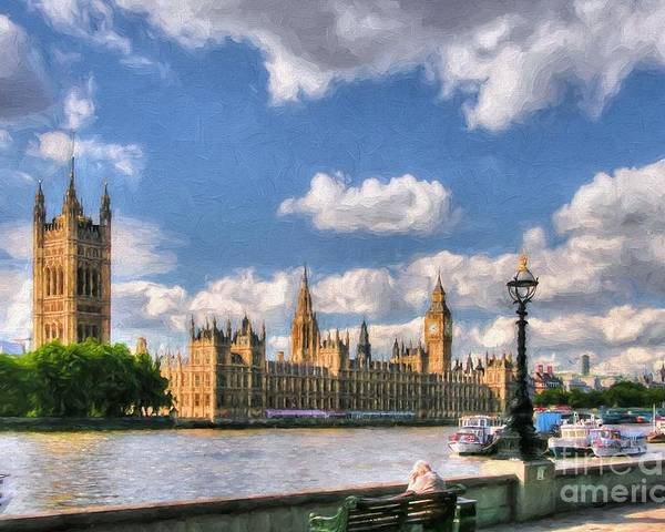 Scenes From Far And Near Poster featuring the photograph Thames River In London # 3 by Mel Steinhauer