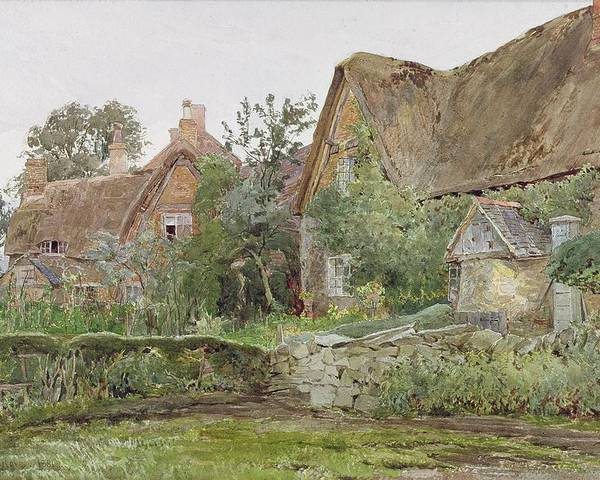 Thatched Poster featuring the painting Thatched Cottages And Cottage Gardens by John Fulleylove