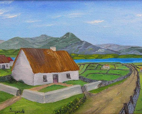 Irish Scene Poster featuring the painting Thatched House 2 by Cary Singewald