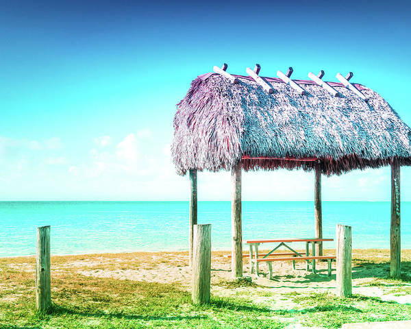Key West Poster featuring the photograph Thatched Roof Hut On Beach by Art Spectrum