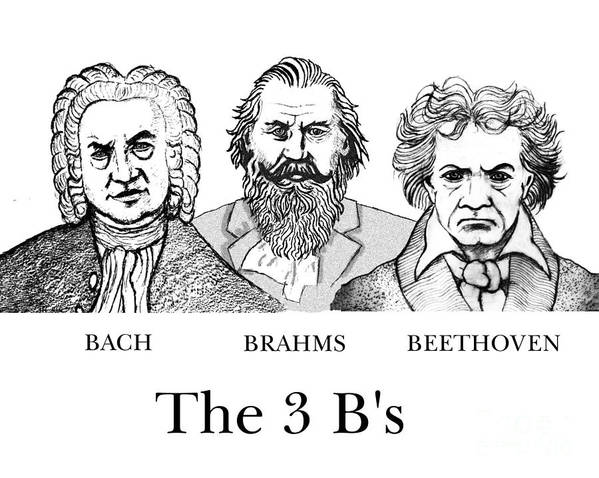 Bach Poster featuring the digital art The 3 B's by Paul Helm