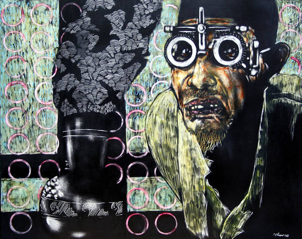 Scratchboard Poster featuring the mixed media The Alchemist by Chester Elmore
