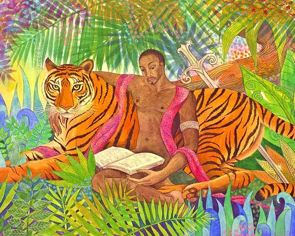Tiger Warrior Jungle Tropical Sacred Wild Colourful Poster featuring the painting The Alchemists by Jennifer Baird
