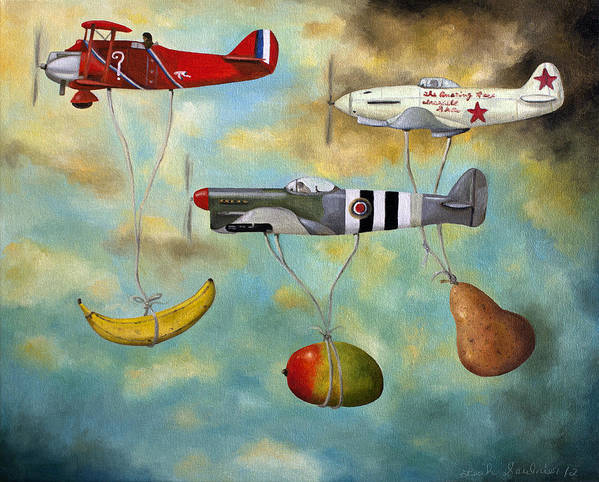 Plane.aircraft Poster featuring the painting The Amazing Race 6 by Leah Saulnier The Painting Maniac