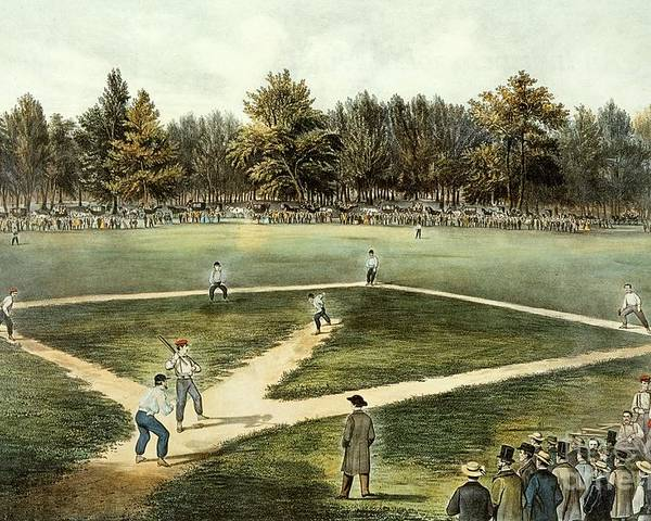 The Poster featuring the painting The American National Game Of Baseball Grand Match At Elysian Fields by Currier and Ives