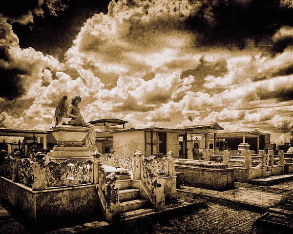 The Angel On A Cuban Grave; Angel; Cuban; Grave; Cuba; Graveyard; Clouds; Old; Religion Art; Religious Art; Spiritual; Spirituality; Catholic; Catholicism; Religion; Religious; Holy; Hope; Faith; Love; Happiness; Photography & Digital Art; Photography; Photo; Photo Art; Art; Digital Art; 2bhappy4ever; 2bhappy4ever.com; 2bhappy4evercom; Tobehappyforever; Poster featuring the photograph The Angel on a Cuban Grave by 2bhappy4ever