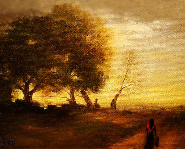 Countryside Landscape Poster featuring the painting The Artists Way Home by Debi Frueh