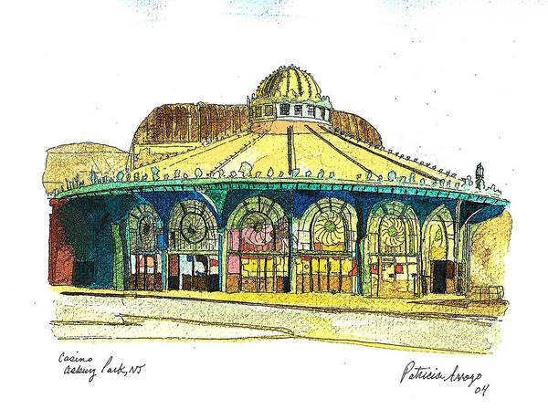 Asbury Art Poster featuring the painting The Asbury Park Casino by Patricia Arroyo