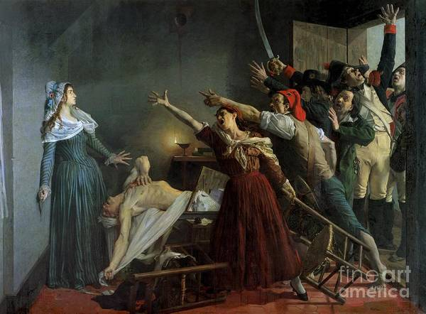 The Poster featuring the painting The Assassination Of Marat by Jean Joseph Weerts