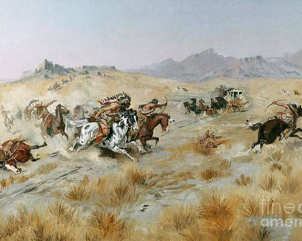 Bows Poster featuring the painting The Attack by Charles Marion Russell
