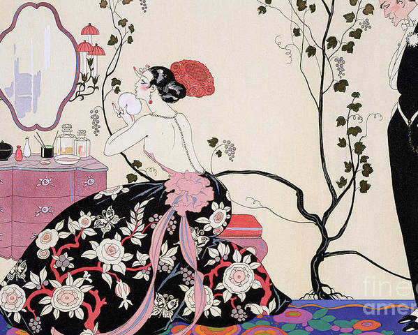 The Backless Dress Poster featuring the drawing The Backless Dress by Georges Barbier