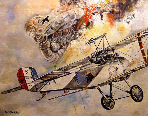 Military Poster featuring the painting The Balloon Buster by Marc Stewart