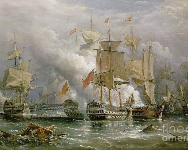 Royal Navy; Coast Of Portugal; Knighted; British Fleet Poster featuring the painting The Battle Of Cape St Vincent by Richard Bridges Beechey
