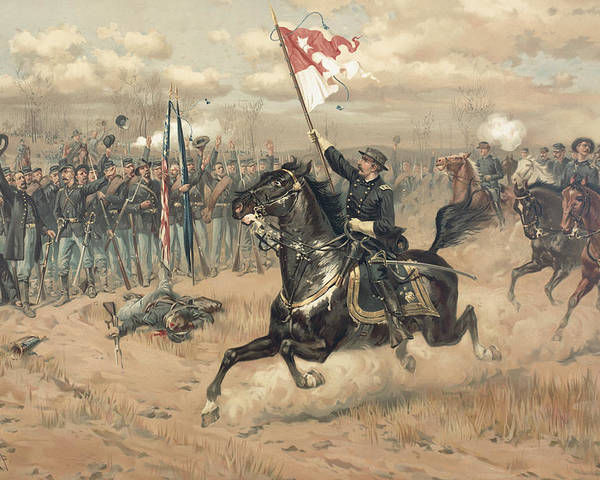 Sheridan's Famous Ride At The Battle Of Cedar Creek Virginia In 1864 (colour Litho) By Thure De Thulstrup (1848-1930) Poster featuring the painting The Battle Of Cedar Creek Virginia by Thure de Thulstrup