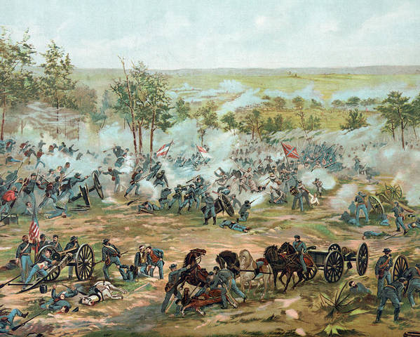 The Battle Of Gettysburg Poster featuring the drawing The Battle Of Gettysburg by Paul Dominique Philippoteaux