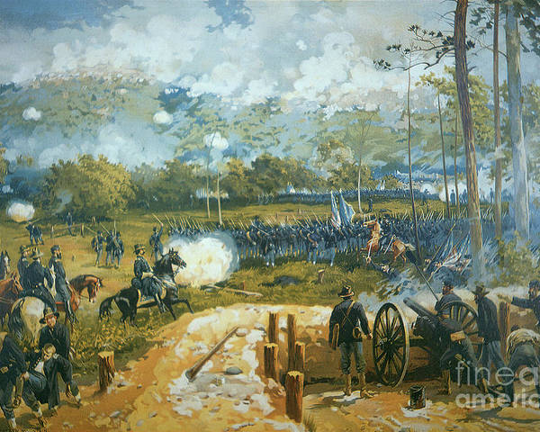 The Battle Of Kenesaw Mountain Poster featuring the painting The Battle Of Kenesaw Mountain by American School