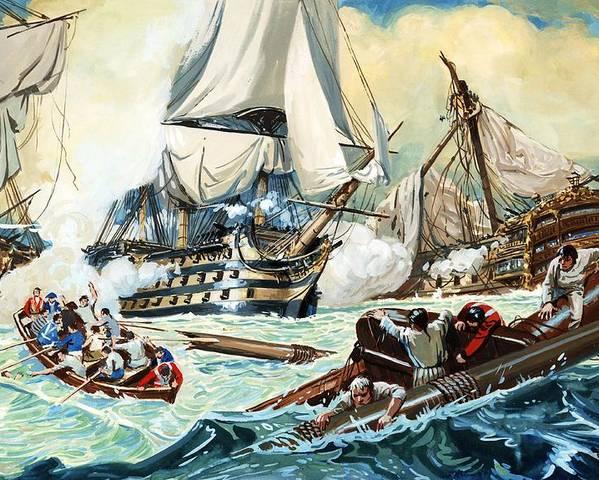 The Battle Of Trafalgar; Ships ;boats; Swimmers Poster featuring the painting The Battle Of Trafalgar by English School
