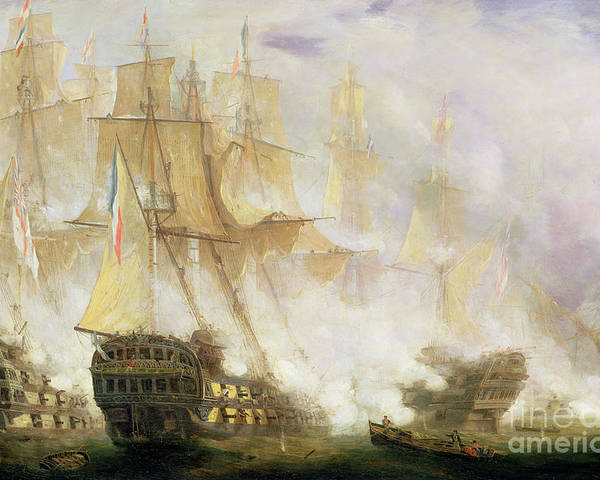 The Battle Trafalgar Poster featuring the painting The Battle Of Trafalgar by John Christian Schetky