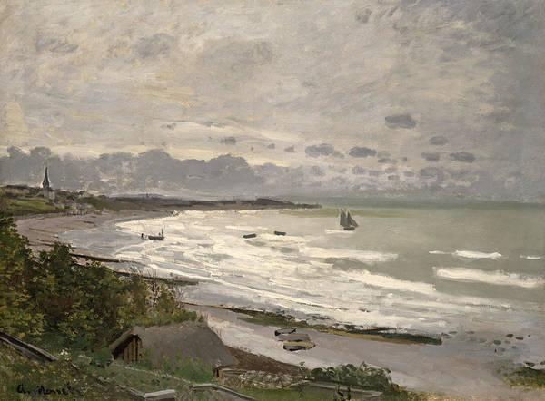 The Beach At Sainte Adresse Poster featuring the painting The Beach At Sainte Adresse by Claude Monet