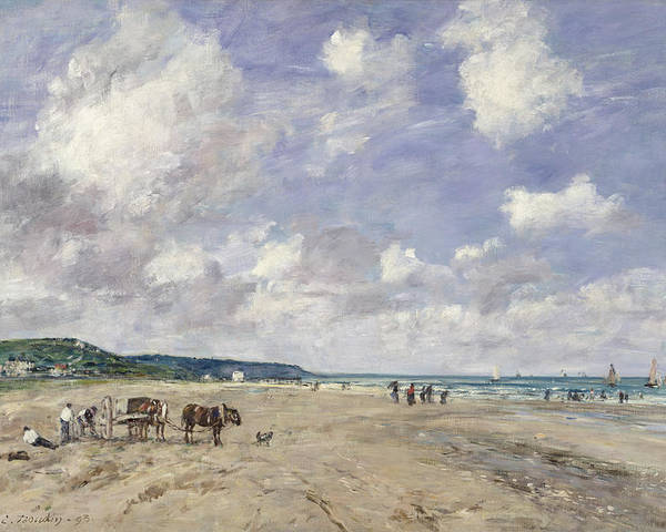 The Poster featuring the painting The Beach At Tourgeville by Eugene Louis Boudin
