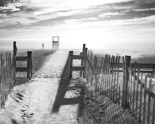 The Beach Poster featuring the photograph The Beach In Black And White by Dapixara Art