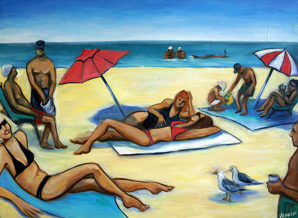 Beach Scene Poster featuring the painting The Beach by Valerie Vescovi