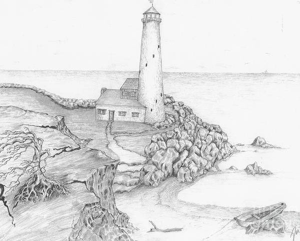 Realistic Drawing Poster featuring the drawing The Beacon by Dan Theisen